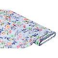 """Tissu voile pour blouses """"fleurs"""" aspect froissé, bleu/multicolore"""