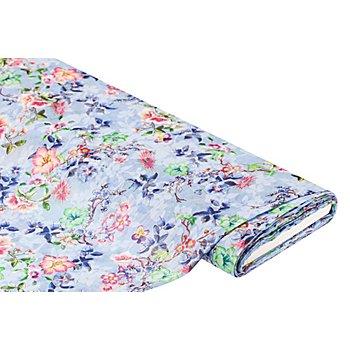 Tissu voile pour blouses 'fleurs' aspect froissé, bleu/multicolore