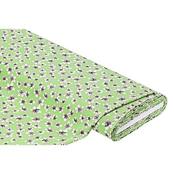 Stretch-Crêpe 'Blumen', grün-color
