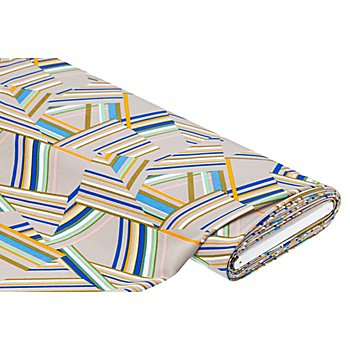 Tissu crêpe extensible 'graphique', taupe/multicolore