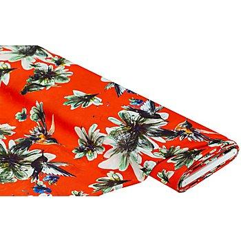 Crêpe 'Blumen & Vögel', rot-color