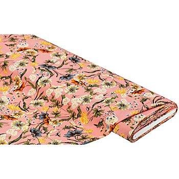 Stretch-Blusenstoff 'Blumen', rosa/gelb