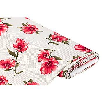 Tissu stretch pour blouses 'fleurs et rayures', taupe/multicolore
