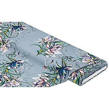 Stretch-Blusenstoff 'Wasserlilie', grau-color