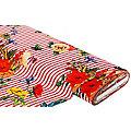 """Stretch-Blusenstoff Digitaldruck """"Streifen & Blumen"""", weiß/rot"""