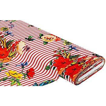 Stretch-Blusenstoff Digitaldruck 'Streifen & Blumen', weiß/rot