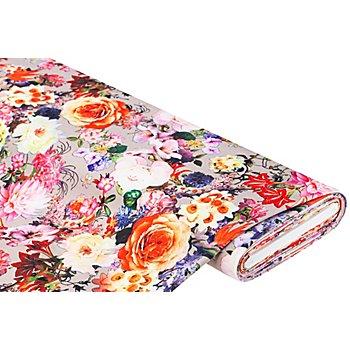 Romanit-Jersey Digitaldruck 'Blumen', taupe-color