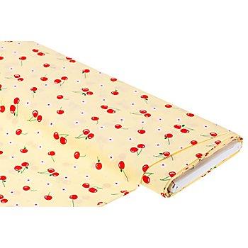 Viskose-Blusenstoff / Javanaise 'Kirschen', hellgelb-color