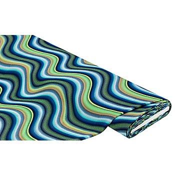 Tissu crêpe 'vagues', vert/bleu/turquoise