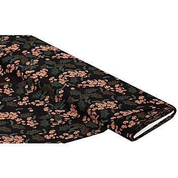 Leichter Viskose-Blusenstoff / Javanaise 'Blumen & Farn', schwarz-color