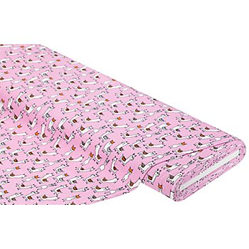Baumwolljersey 'Lama' mit Elasthan, Farbe: rosa-color