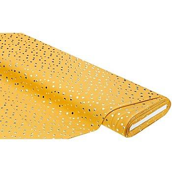 Tissu jersey en coton 'pois métallisés' avec élasthanne, ocre/argenté