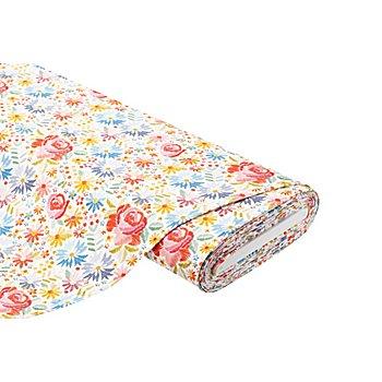 Baumwolljersey 'Blumen' mit Elasthan, weiss-color