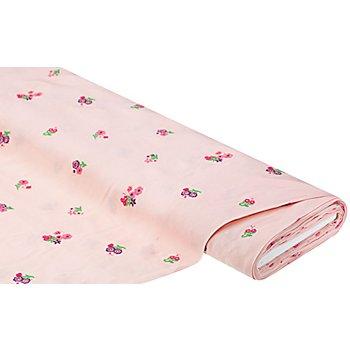 Tissu viscose pour blouses avec broderies, tons roses