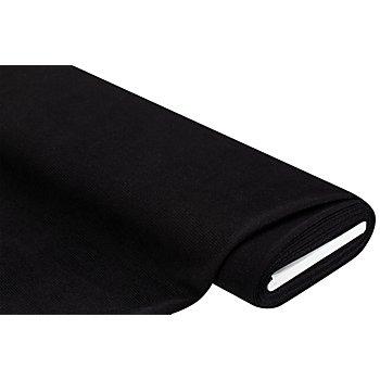 Tissu jersey côtelé, aspect froissé, noir