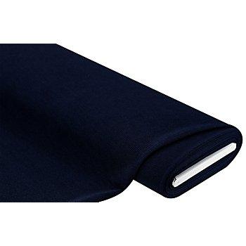 Tissu jersey côtelé, aspect froissé, bleu marine