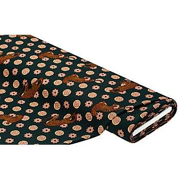 Stretch-Crêpe 'Leopard', dunkelgrün-color