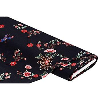 Crêpe 'Kranich & Blumen', schwarz-color