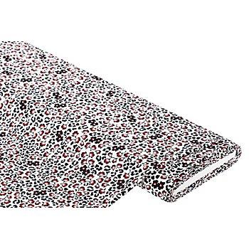 Crêpe 'Leo & Blumen-Allover', weiß/rot/schwarz