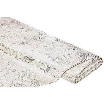Tissu jacquard 'fleurs/paisley', crème/argenté