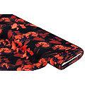 """Tissu crêpe extensible/scuba """"fleurs"""", noir/tons rouges"""