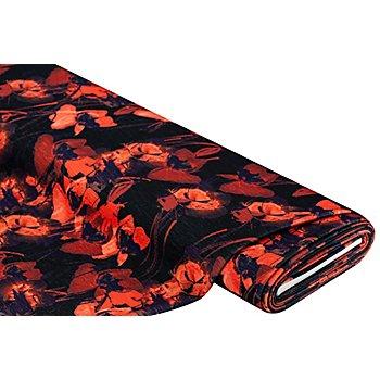 Tissu crêpe extensible/scuba 'fleurs', noir/tons rouges