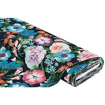 Tissu crêpe extensible / scuba 'fleurs', noir/bleu