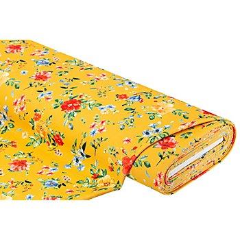 Elastik-Crêpe/Scuba 'Blüten', gelb-color