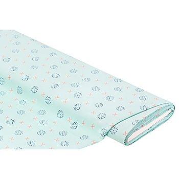 Tissu pour blouses 'ronds/croix', menthe