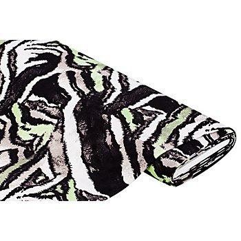Tissu jersey en viscose 'rayures animales', vert/noir
