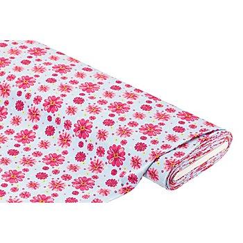 Tissu jersey 'fleurs' avec élasthanne, bleu clair/rose vif