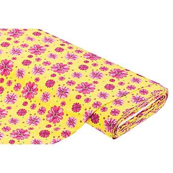 Baumwolljersey 'Blumen' mit Elasthan, gelb/pink