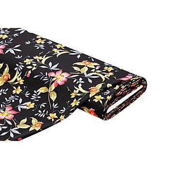 Tissu crêpe 'fleurs', noir/multicolore