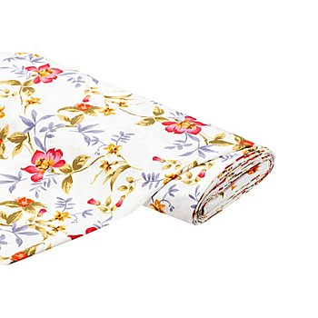 Crêpe 'Blumen', ecru-color
