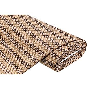 Mantelstoff 'Kreise' mit Wolle, braun-color