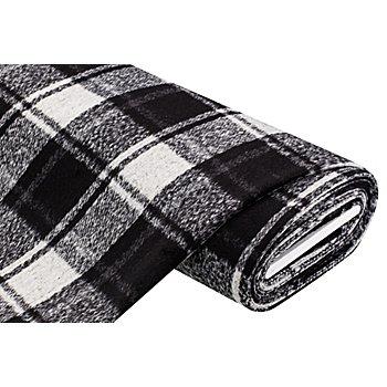 Tissu lainage 'carreaux', noir/blanc cassé