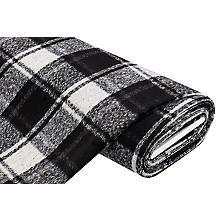 Mantelstoff 'Karo' mit Wolle, schwarz/wollweiß