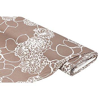 Viskose-Jersey 'Blumen', taupe/weiß