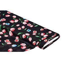 Tissu satin pour blouses 'tulipes', noir/multicolore