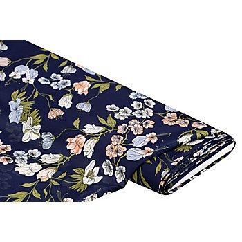 Tissu satin pour blouses 'fleurs', bleu marine/multicolore