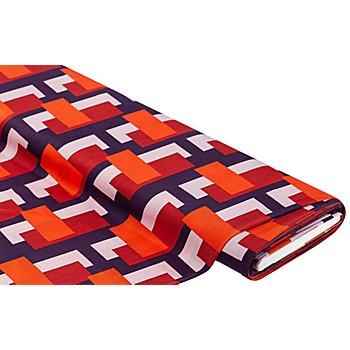 Tissu jersey extensible 'rectangles', orange/violet