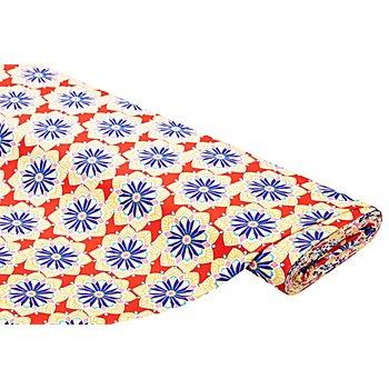Tissu jersey en coton 'fleurs' avec élasthanne, rouge/multicolore