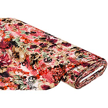 Tissu crêpe 'fleurs', bordeaux/marron