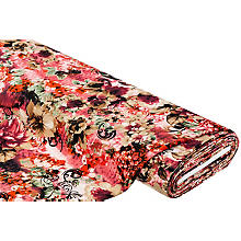 Stretch-Crêpe 'Blumen', bordeaux/braun