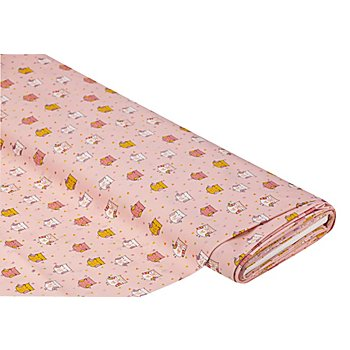 Baumwollstoff 'Eulen' mit Glitzer, rosa-color