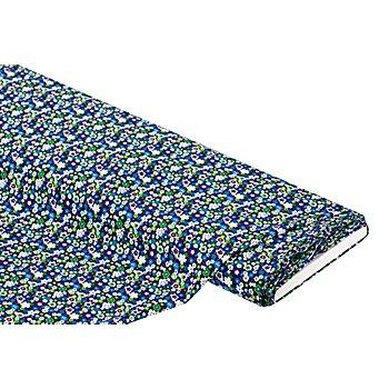 Tissu viscose pour blouses / javanaise 'millefleurs', bleu/multicolore