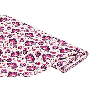 Tissu viscose pour blouses / javanaise 'fleurs', rose vif/multicolore