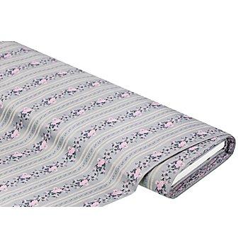 Baumwoll-Satin / Trachtenstoff 'Blumenbordüren', grau/rosa