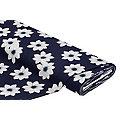 """Tissu jersey en coton """"fleurs"""", bleu foncé/gris"""