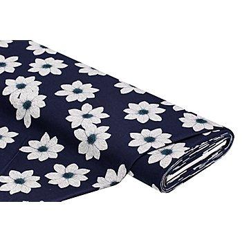 Tissu jersey en coton 'fleurs', bleu foncé/gris